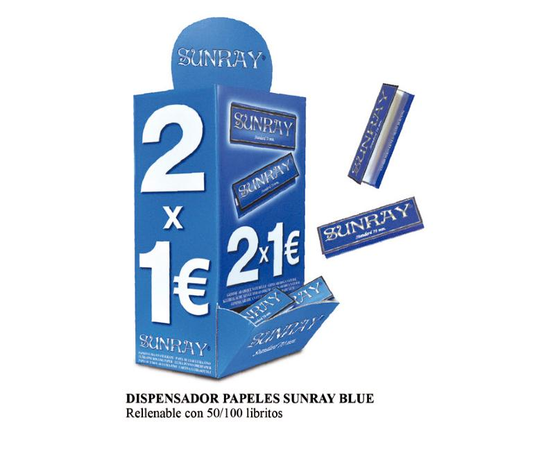 DISPENSADOR SUNRAY BLUE 70mm 2X1 € 100 Libritos