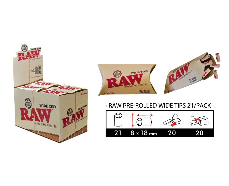 EXP 20 RAW PRE-ROLLED WIDE TIPS/21PACK