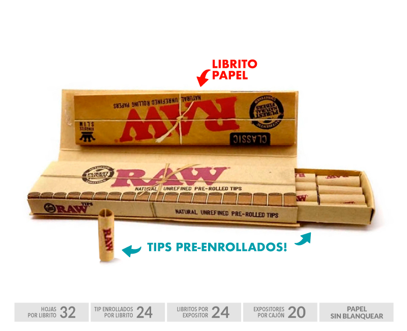 EXP 24 RAW CONNOISSEUR SLIM + PRE-ROLLED TIPS