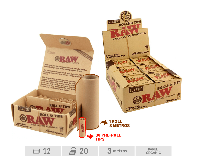 EXP 12 RAW MASTERPIECE ROLLS + PRE-ROLLED TIPS