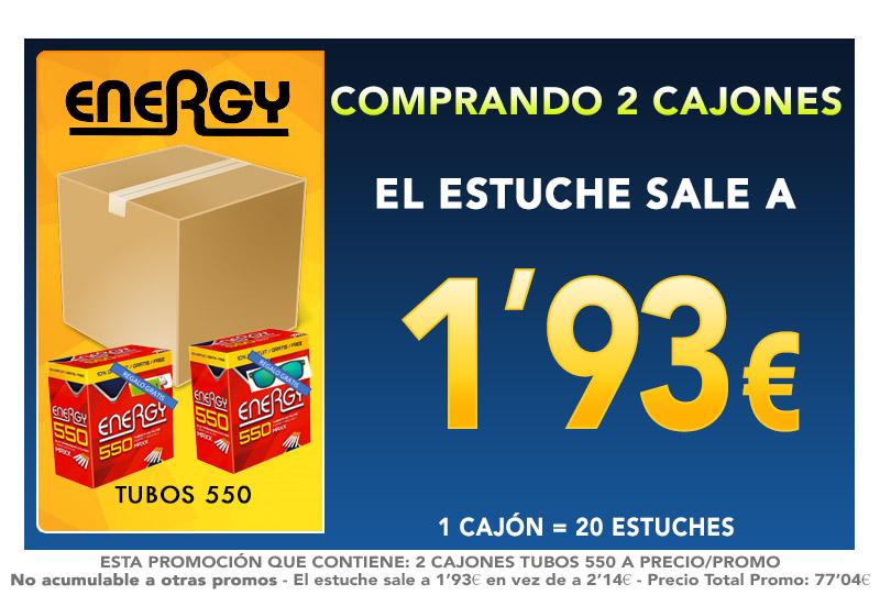 550 TUBOS MAXX ENERGY Regalo Gafa/Mechero (36+4)