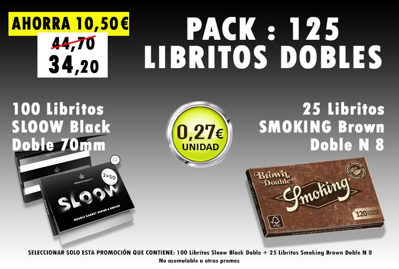 70mm DOBLE 125 LIBRITOS SLOOW + SMOKING BROWN