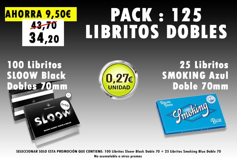 70mm DOBLE 125 LIBRITOS SLOOW + SMOKING BLUE