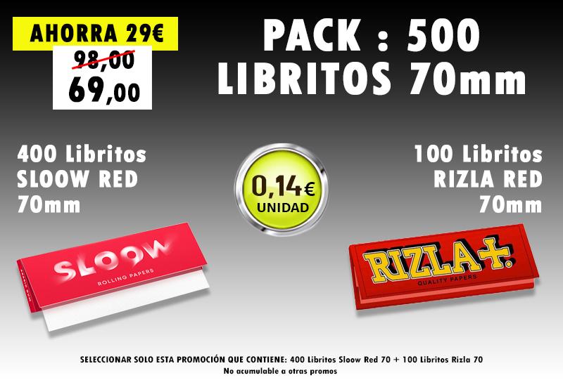 70mm 500 LIBRITOS SLOOW + RIZLA ROJO