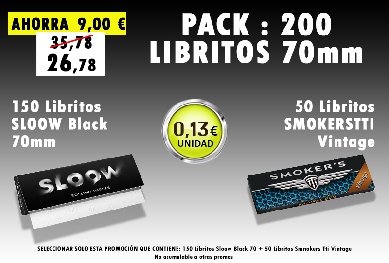 70mm 200 LIBRITOS SLOOW + SMOKERS TTI