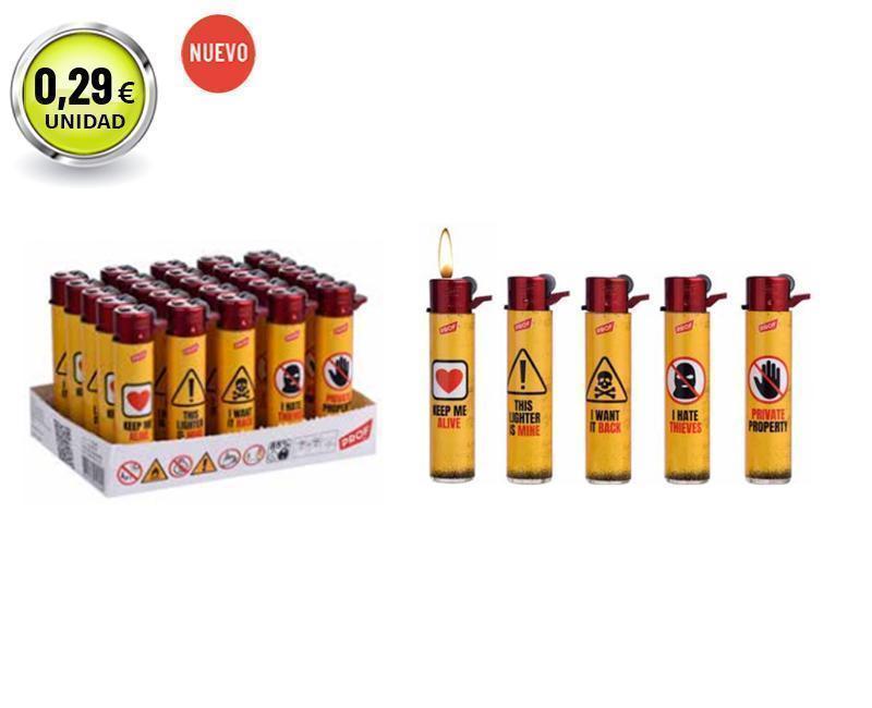 EXP 25  ENC. PROF RED WARNINGS FLINT LIGHTER