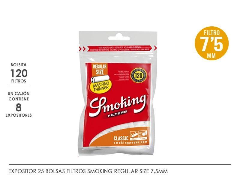 SMOKING FILTROS 7.5 MM REGULAR: EXP 25 BOLSASx120F