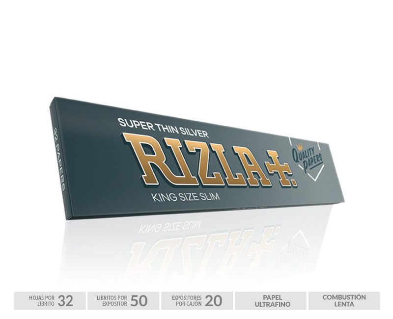 EXP 50 RIZLA KING SIZE SUPER THIN SILVER +