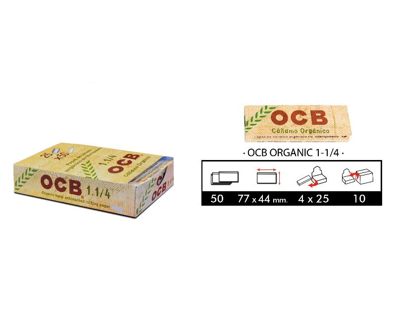 PACK 4 CAJITAS OCB ORGANIC 1-1/4  DE 25 LIBR.