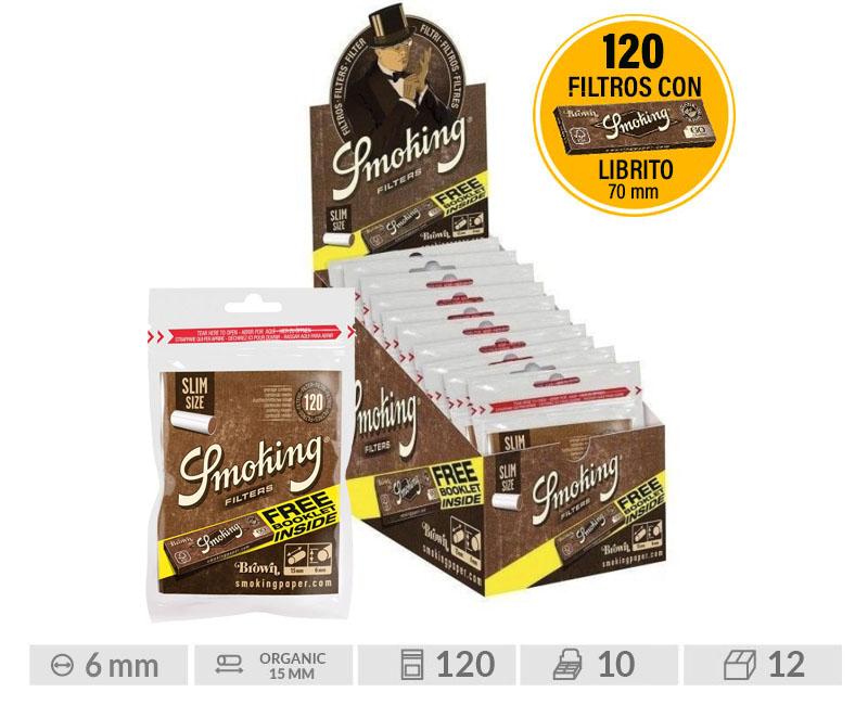 EXP 10 SMK FILTERS BROWN SLIM 120 + LIBRITO BROWN