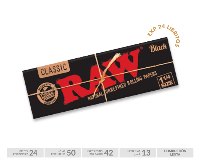 EXP 24 RAW BOOKLET 1 1/4 BLACK (50 HOJAS)