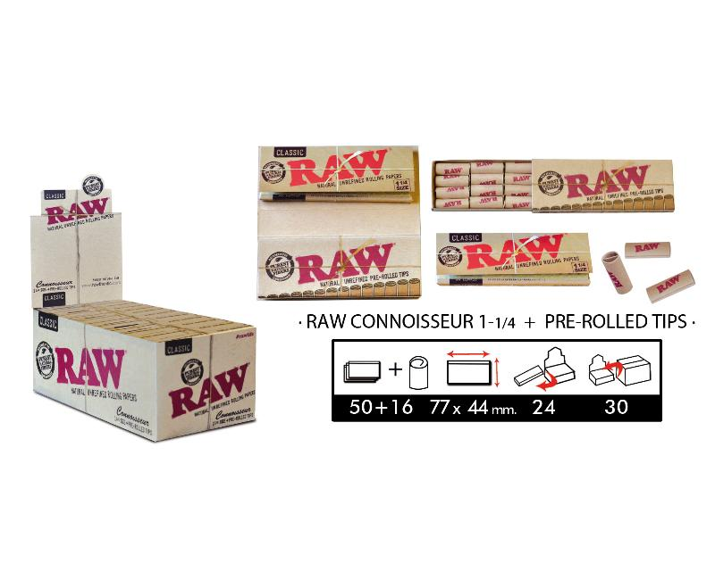 EXP 24 RAW CONNOISSEUR 1 1/4 + PRE-ROLLED TIPS