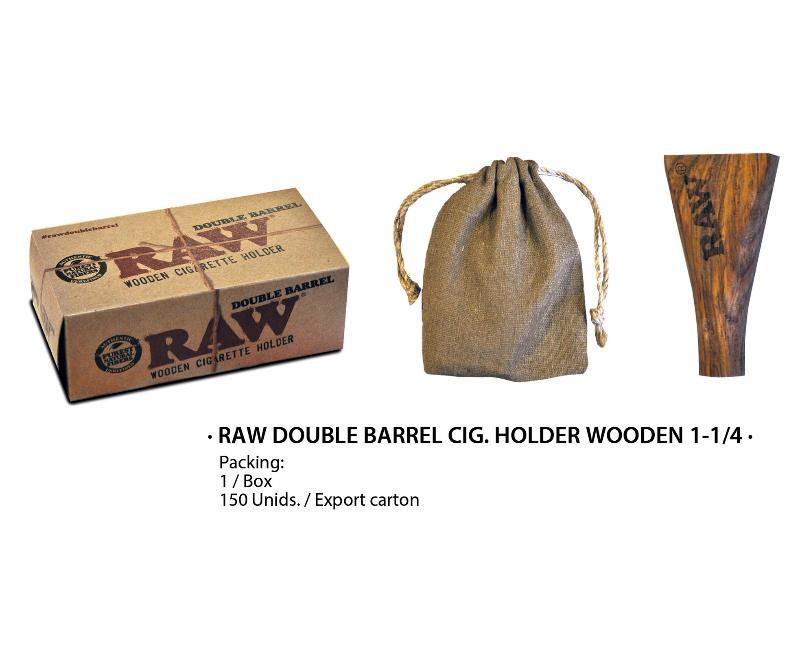 RAW DOUBLE BARREL WOOD CIG HOLDER 1 1/4